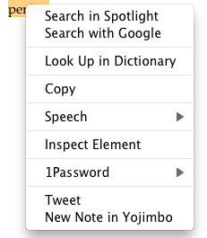 Safari Contextual Menu